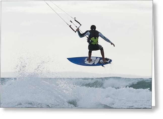 Tarifa Greeting Cards - Wakeboarding Dos Mares Beach Tarifa Greeting Card by Ben Welsh