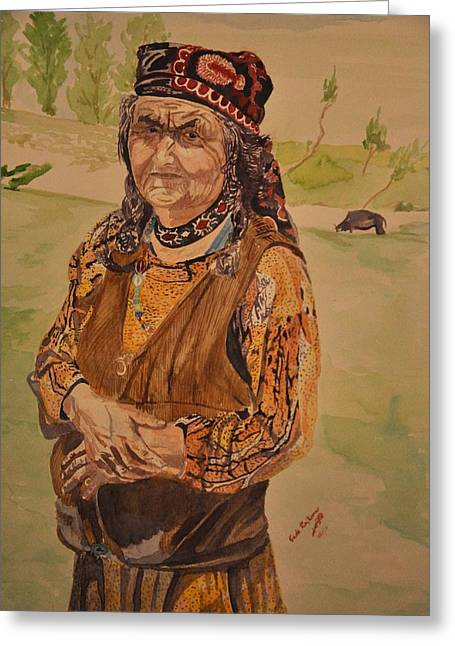Lanscape Drawings Greeting Cards - Wakhan old lady Greeting Card by RajKumar Gade