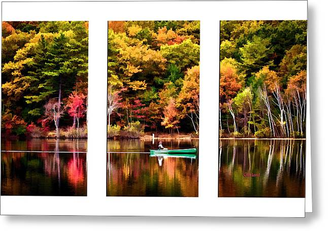 Lake Walden Greeting Cards - Walden Pond In Three Greeting Card by Garland Johnson