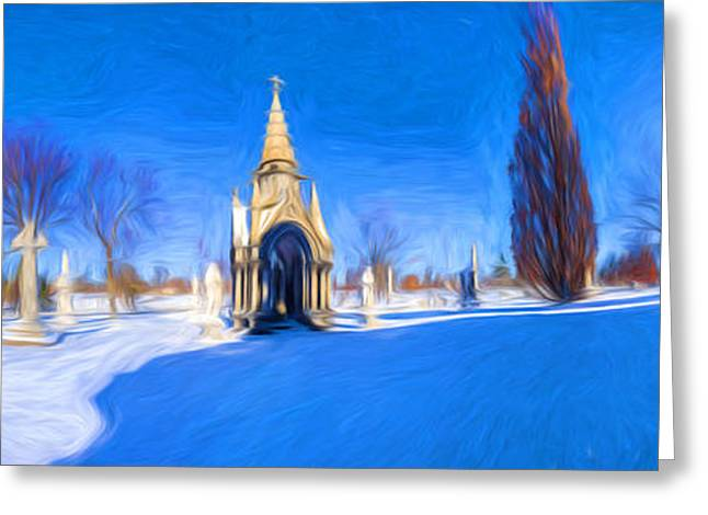 Abstract Digital Photographs Greeting Cards - Walden Pratt and Jewett at Forest Lawn - Painterly Greeting Card by Chris Bordeleau