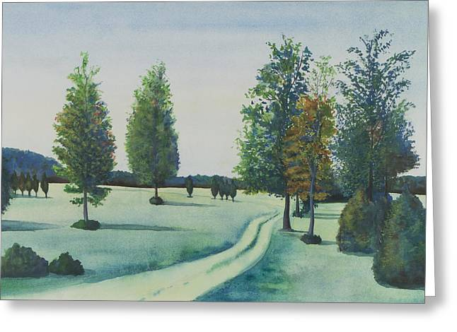 Md Paintings Greeting Cards - Waldorf Landscape off of Rte 301 Greeting Card by David P Zippi