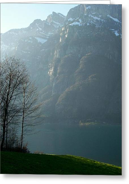 Swiss Photographs Greeting Cards - Walensee Dusk Greeting Card by Katie Beougher