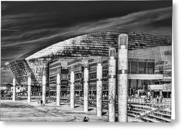 Roald Dahl Greeting Cards - Wales Millennium Centre B and W Greeting Card by Steve Purnell
