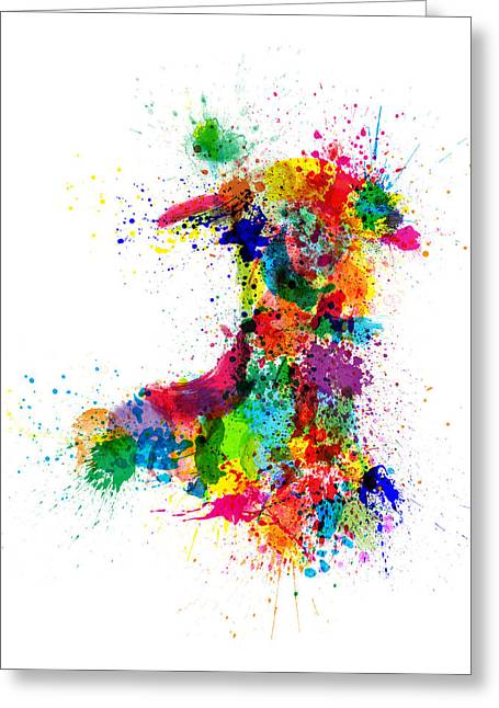 Wales Digital Greeting Cards - Wales Paint Splashes Map Greeting Card by Michael Tompsett