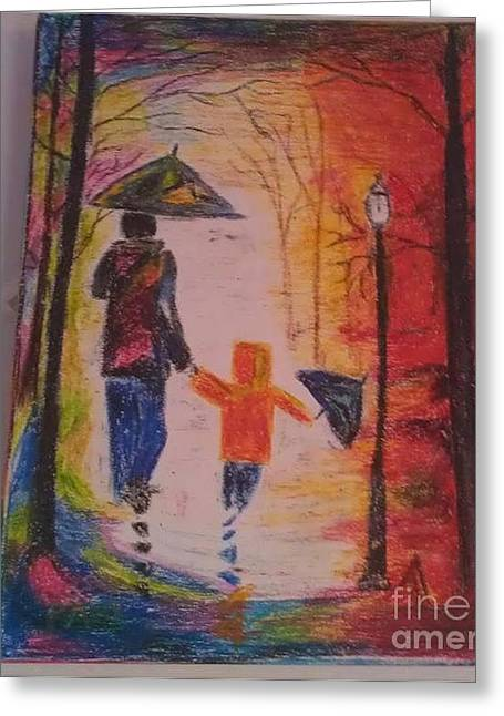 Dad Pastels Greeting Cards - Waling by street Greeting Card by Parinita Dhawan