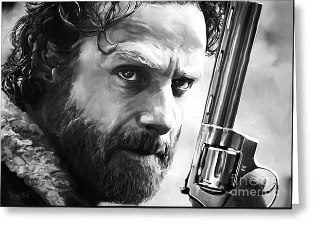 Portrait Artwork Greeting Cards - Walking Dead - Rick Grimes Greeting Card by Paul Tagliamonte