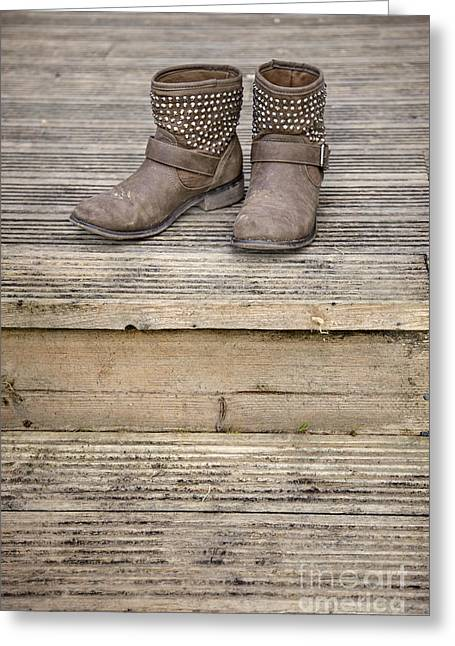 Rustic House Greeting Cards - Walk A Mile In My Shoes Greeting Card by Evelina Kremsdorf