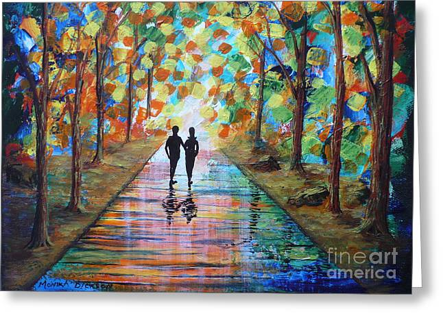 Naturism Greeting Cards - Walk After The Rain Greeting Card by Monika Dickson-Shepherdson
