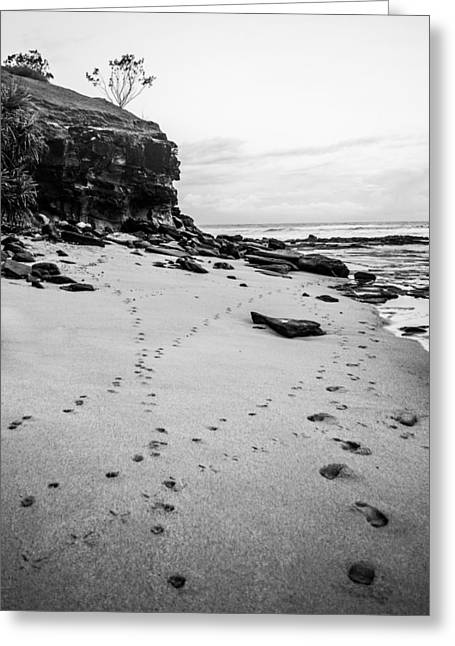 Cliffs And Houses Greeting Cards - Walk Along The Beach Monochrome Greeting Card by Parker Cunningham