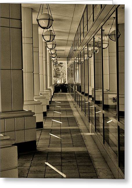 Over Hang Greeting Cards - Walk by the Offices Greeting Card by Joseph Hollingsworth