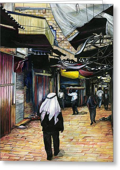 Walk Home Through Antiquity Old Jerusalem Greeting Card by Gaye Elise Beda