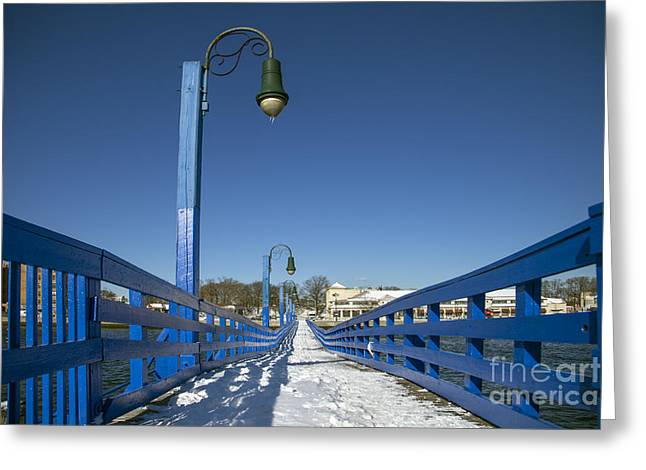 Snow . Bridge Greeting Cards - Walk In The Blue Light Greeting Card by Evelina Kremsdorf