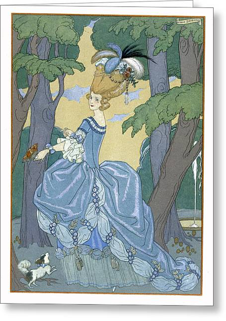 Beauty In Nature Paintings Greeting Cards - Walk in the Forest Greeting Card by Georges Barbier