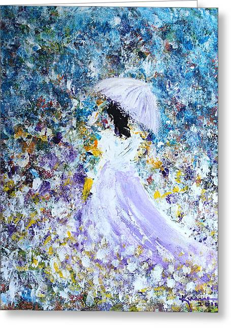 Woman In Summer Meadow Greeting Cards - Walk in the Garden Greeting Card by Kume Bryant
