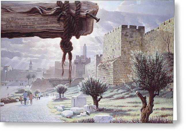 Religious Art Paintings Greeting Cards - Walk in the Light  Jerusalem Greeting Card by Graham Braddock