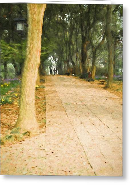 Ike Krieger Greeting Cards - Walk in the Park Greeting Card by Ike Krieger