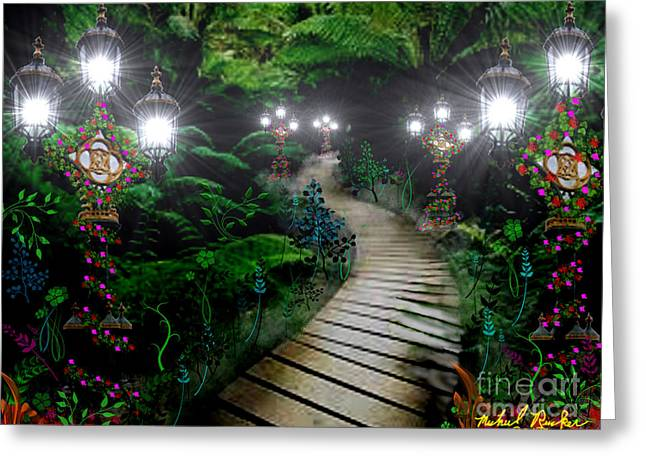 Runner Greeting Cards - Walk in The Park Greeting Card by Michael Rucker