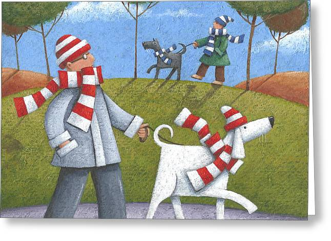 Dog Walking Greeting Cards - Walk In The Park Greeting Card by Peter Adderley