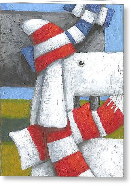 Striped Scarf Greeting Cards - Walk In The Park Variant 1 Greeting Card by Peter Adderley