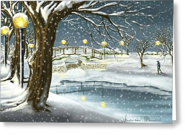 Walk In The Snow Greeting Card by Veronica Minozzi