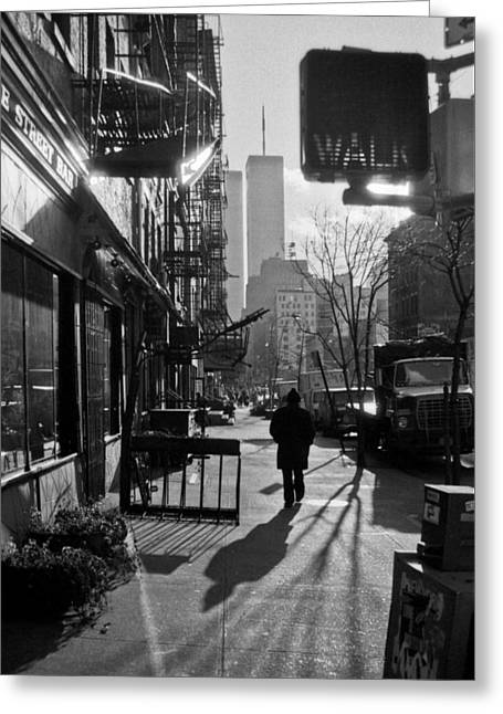 World Trade Centre Greeting Cards - Walk Manhattan 1980s Greeting Card by Gary Eason