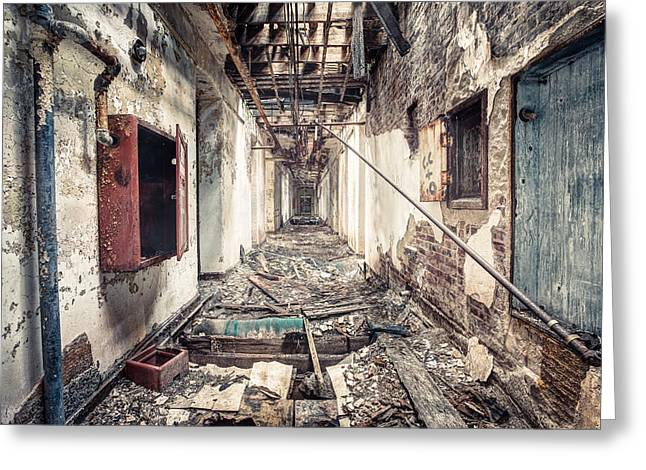 Decadence Greeting Cards - Walk of Death - Abandoned Asylum Greeting Card by Gary Heller