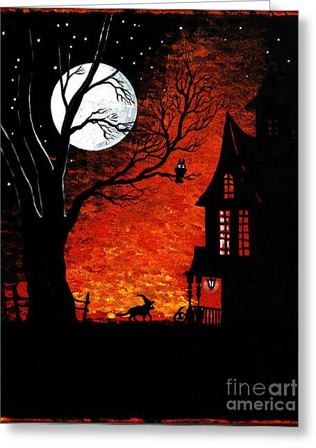 """haunted House"" Paintings Greeting Cards - Walk Of The Catwitch Greeting Card by Margaryta Yermolayeva"