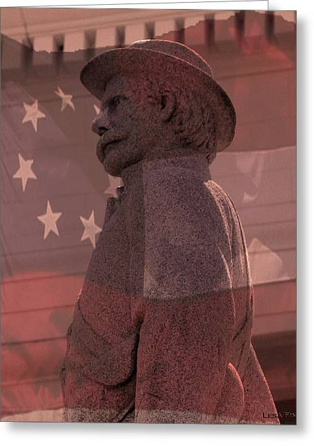 Confederate Monument Greeting Cards - Walk of War Torso and Flag Greeting Card by Lesa Fine