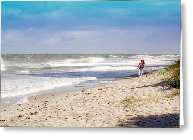 Jacksonville Mixed Media Greeting Cards - Walk On The Beach Greeting Card by Dennis Dugan