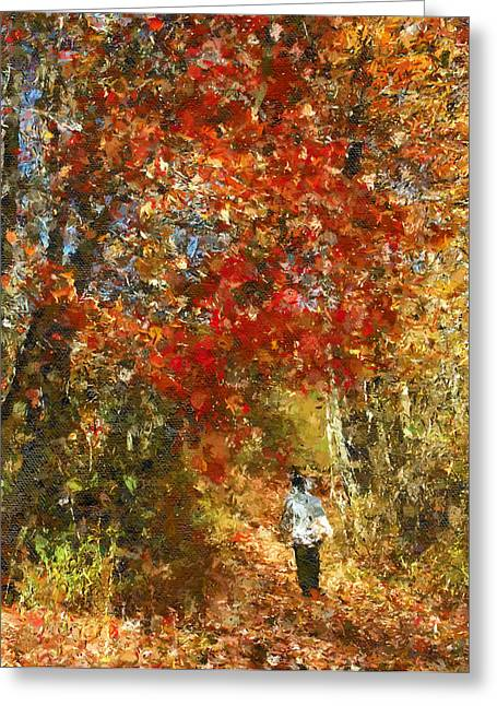 Fall Trees Mixed Media Greeting Cards - Walk On The Wild Side Greeting Card by Georgiana Romanovna