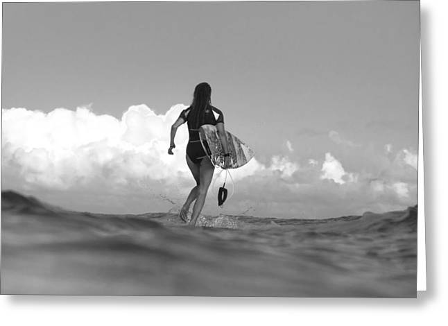 Surfer Print Greeting Cards - Walk On Water Greeting Card by Sean Davey