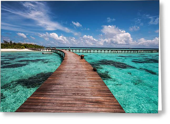 Tropical Island Greeting Cards - Walk Over the Water Greeting Card by Jenny Rainbow