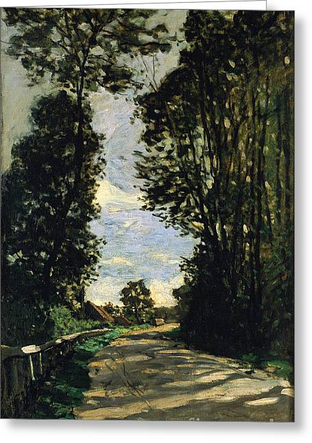 Vintage Painter Greeting Cards - Walk Road of the Farm Saint-Simeon Greeting Card by Claude Monet