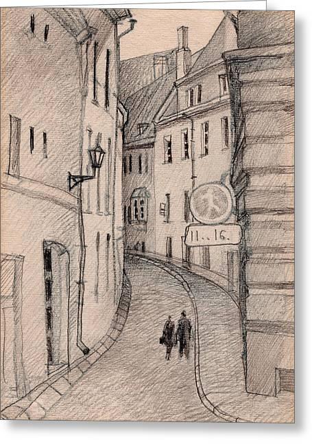 Tallinn Drawings Greeting Cards - Walk Greeting Card by Serge Yudin