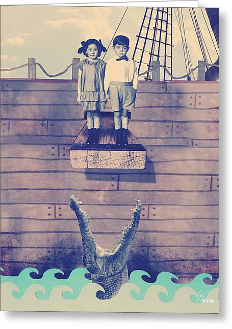 Pirate Ship Mixed Media Greeting Cards - Walk The Plank Greeting Card by William Sikora