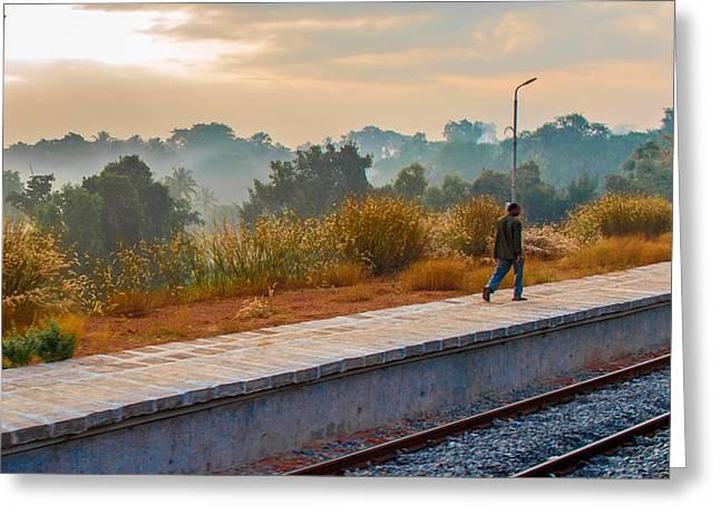 Streetlight Greeting Cards - Walk the rail Greeting Card by Girish Veetil