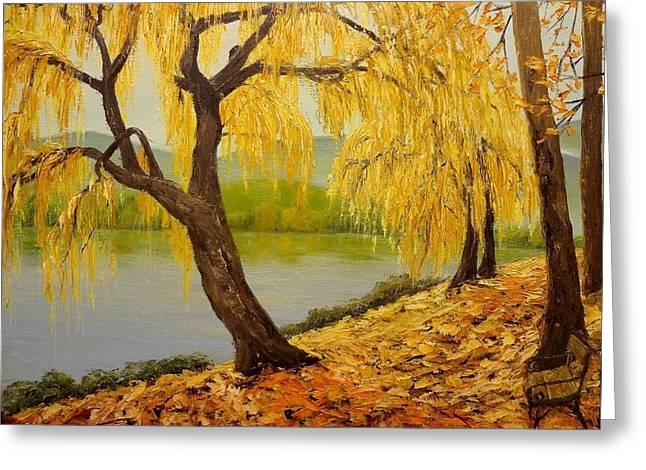 Svetla Dimitrova Greeting Cards - Walk the river Greeting Card by Svetla Dimitrova