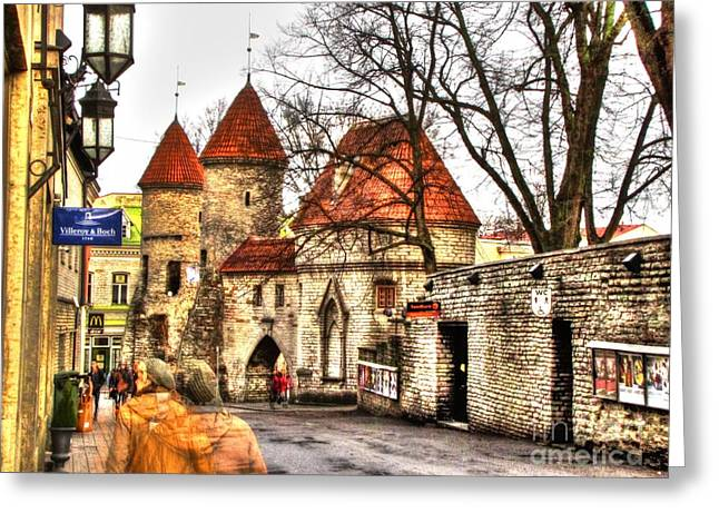 People Pyrography Greeting Cards - Walk the streets of Tallinn Greeting Card by Yury Bashkin
