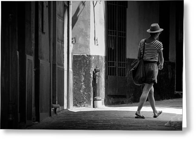 Downtown Genoa Greeting Cards - Walk this way .. Greeting Card by A Rey