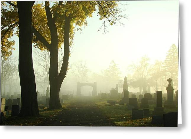 Haze Greeting Cards - Walk Through The Hazy Cemetery Greeting Card by Gothicolors Donna Snyder