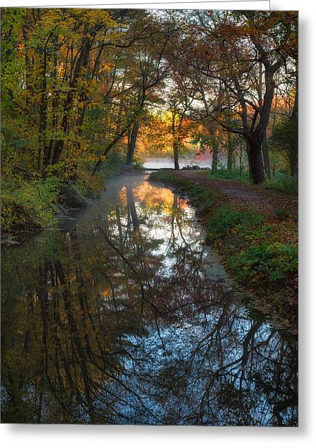Grist Mill Greeting Cards - Walk to the Pond Greeting Card by Michael Blanchette