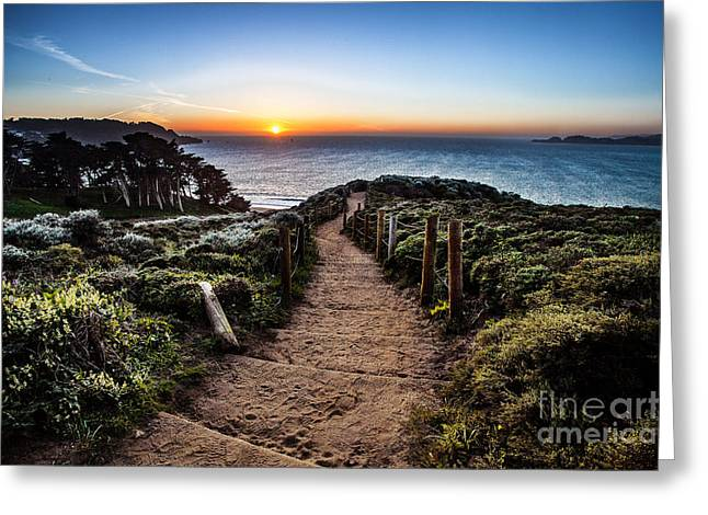 California Beaches Greeting Cards - Walk to the Sunset Greeting Card by Steven Reed
