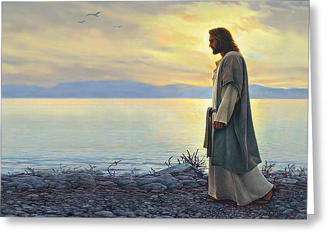 Ocean Shore Paintings Greeting Cards - Walk With Me Greeting Card by Greg Olsen
