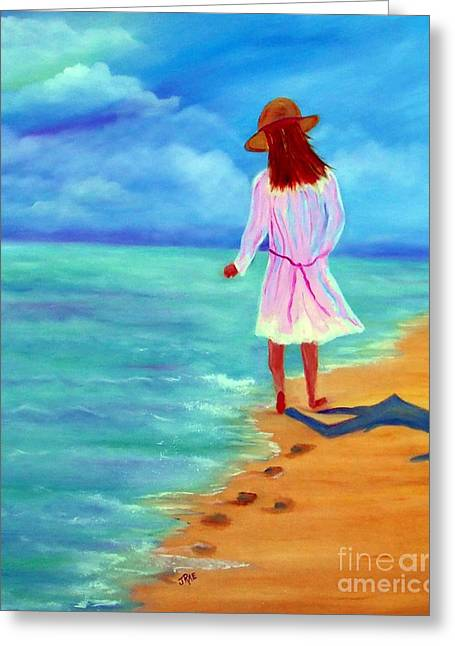 Fleshtones Greeting Cards - Walk With Me Oil on Canvas Greeting Card by Janice Rae Pariza