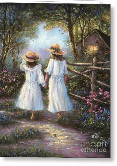 Vickie Wade Paintings Greeting Cards - Walk With Sister Greeting Card by Vickie Wade