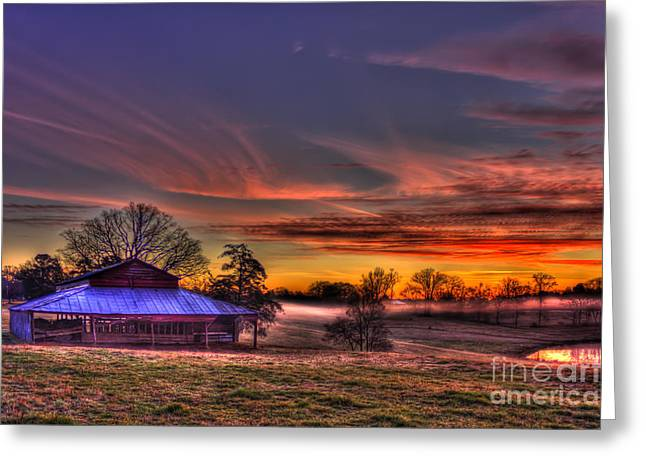 Pastureland Greeting Cards - Misty Morning Sunrise Walker Church Road Greeting Card by Reid Callaway