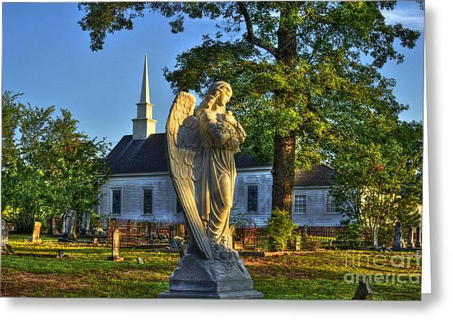 Leach Greeting Cards - Walker Church Cemetery Angel Greeting Card by Reid Callaway