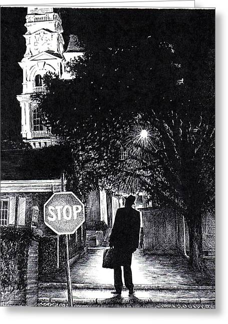 City Hall Drawings Greeting Cards - Walker In The City Greeting Card by James Oliver