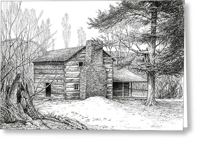 Mountain Cabin Drawings Greeting Cards - Walker Sisters Farm House Greeting Card by Bob  George