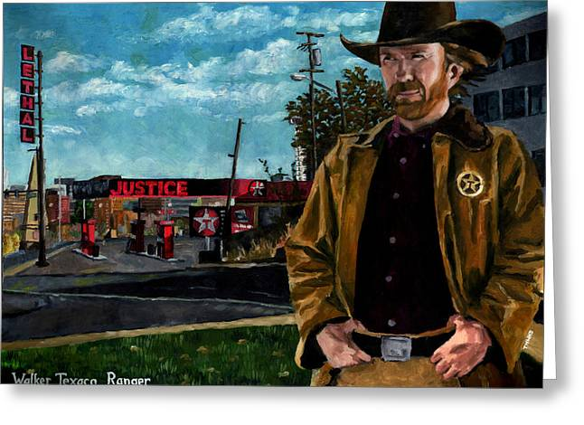 Mullet Greeting Cards - Walker Texaco Ranger - Lethal Justice Greeting Card by Thomas Weeks